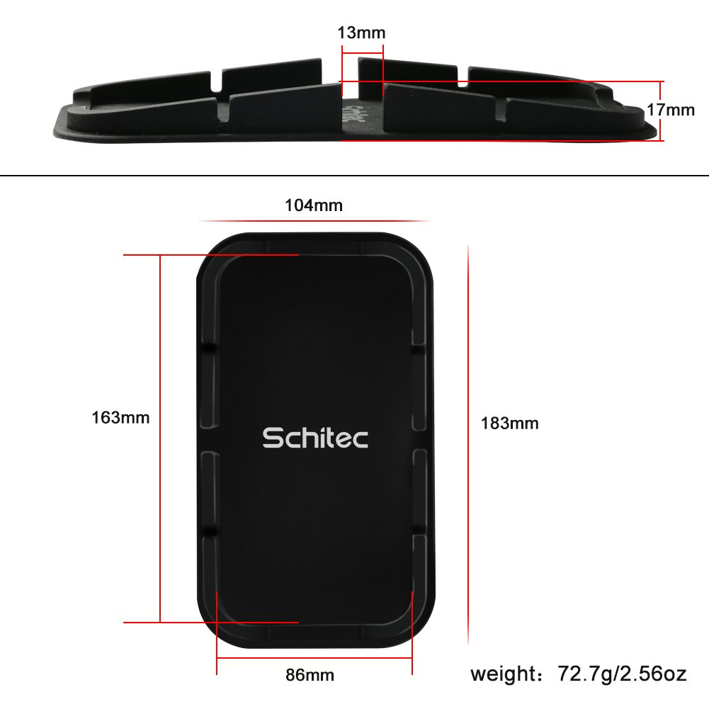 SCHITEC 2Pack Cell Phone Stand Holder Anti-slip Car Silicone Dash Pad Mat Sticky Mount Holder for Most Smart Phone iPhone X//8//7Plus//7//6S//6//5s//5 Android Samsung Galaxy S8+//S8//S7//S6//S5 Edge Nexus etc