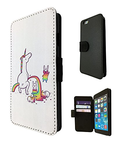1642 - Cool Cute Funny Unicorn Colourful Rainbow Peeing On Bunnies Design iphone 4 4S Fashion Trend TPU Leather Flip Case Full Case Flip Credit Card TPU Leather Purse Pouch Defender Stand (1642 Leather)