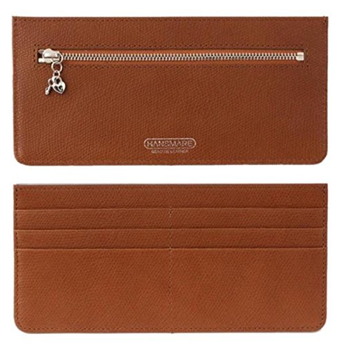 [HANSMARE] Credit Card Slim Genuine Leather Long Wallet Zipper pocket purse, Multi-function thin long wallet with zipper for Clutch Bag -CAMEL