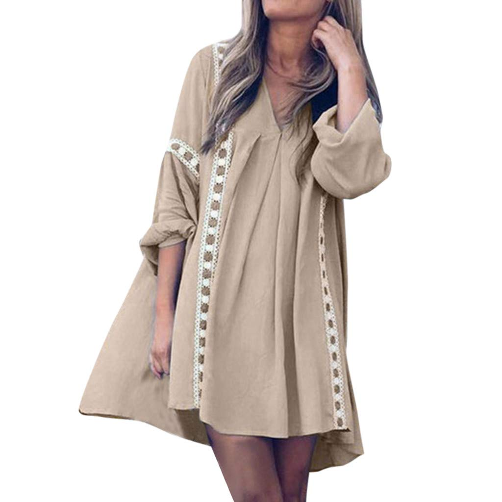 New in HAALIFE◕‿ Tunics Dress for Women 3/4 Roll Sleeve Autumn Dress Ladies Ruffle Loose Swing Casual Mini T-Shirt Dress Khaki by HAALIFE Women's Clothing