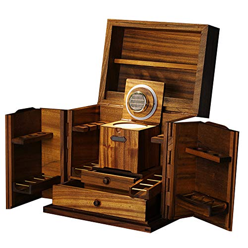Multifunctional Tobacco Pipe Stand Rack Holder, Pipe and Smoking Set Storage Display Cabinet with Tobacco Moisturizing Bottle, Solid Wood