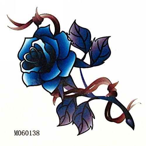 MapofBeauty Sexy Blue Rose Flower Temporary Waterproof Body Art Tattoo Sticker (2 pcs/lot) ()