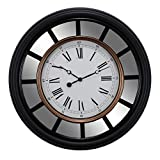 Kiera Grace Milan Oversized Wall Clock with Mirror Accent, 22-Inch, 2.5-Inch Deep, Black with Brushed Copper Bezel