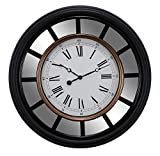 Cheap Kiera Grace Milan Oversized Wall Clock with Mirror Accent, 22-Inch, 2.5-Inch Deep, Black with Brushed Copper Bezel