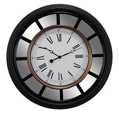 kieragrace Milan Oversized Wall Clock with Mirror Accent, 22-Inch, 2.5-Inch Deep, Black with Brushed Copper Bezel