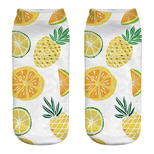 Clearance! ! ❤️ ❤️ Maonet Cute Work Cotton Socks 3D Fruit Watermelon Pineapple Print Medium Sports Socks (F)]()