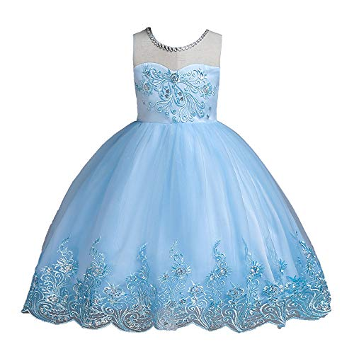 Girls Embroidery Princess Dress Sleeveless Tutu Tulle lace Birthday Party Dress(Light blue/90cm(1-2 Years)) -