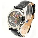 The Muppets Horloge Black Montre Automatique Femme Montre bracelet cuir Motif Cookie Monster (D29S