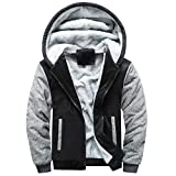 Mens Hoodie Coat, Chaofanjiancai Guys Winter Warm Fleece Zipper Sweater Jacket Pocket Outwear Tops Blouses