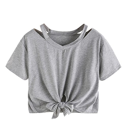 Laimeng_World Fashion Womens Casual Cut Out V Neck Bow-Knot Bandage Tee Blouse T-Shirt Tops(Gray,L) ()