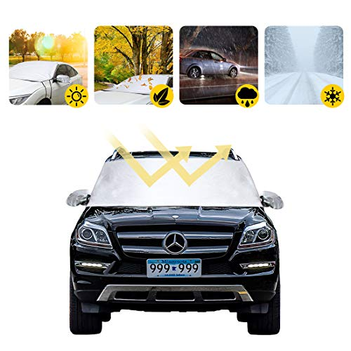 (Car Truck Sun Shadow Cowl Windshield Cover Rear Mirror Protector Frost UV Fallen Leaves Dust Sunshade Protection Fit for Universal Cars)
