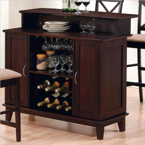 Coaster Contemporary Style Solid Wood Bar Unit with Wine Rack, Deep Cappuccino - Home Furniture Bar