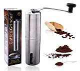 Nicecho Portable Manual Coffee Grinder for Office, Home, Travel   Conical Burr Mill for Precision Brewing   Stainless Steel
