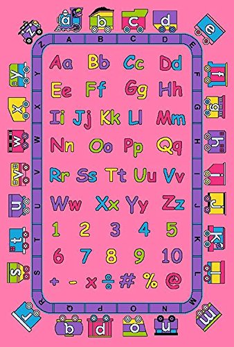 4'11'X6'10' Abc'S Alphabet Pink Train Room Children Area Rug Educational