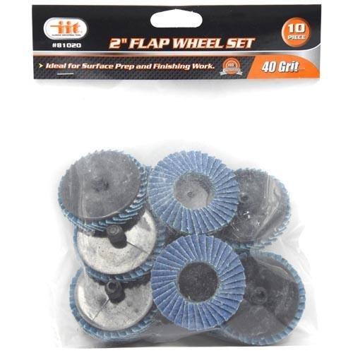 2-40-grit-flap-wheels-discs-10-pack-1-4-mandrel-wheel-disc-holder-fits-roloc-style