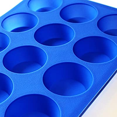 Briar Island Non Stick Silicone Muffin Pan Molds for Baking Cupcakes - Cheesecake Mold 12 Large Size Bake Cups , Replaces Bakeware Tins With Easy Clean Up To 450°F - Healthy Blue BPA Free Tray