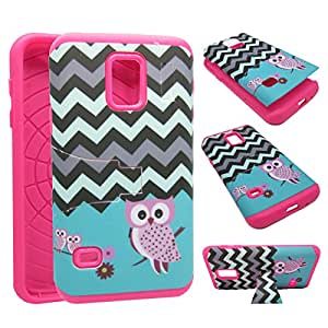 For Samsung Galaxy S5 Mini Kickstand Owl on Blue Chevron Hybrid Impact Resistance Shock Defender Dual Layer with Flexible TPU + Hard PC Rubberized Touch Matte Design Armor Cover Case