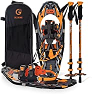 Snoweshoes kit Adventure Adult (Orange, 21 in, Optimized Weight up to 150lb)
