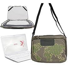 "Sacoche vert kaki - motif ""nature monde"" - pour ordinateur portable Toshiba Qosmio X770 , Samsung 900X4C, 900X4B, Series 9 900X4D A03, Series 9 NP900X4C-A07US 15"" Premium Ultrabook + bandoulière - DURAGADGET"
