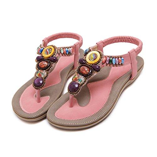 LIXIONG Portátil Sandalias femeninas altas del verano de los 2cm Zapatos planos dulces y cómodos Zapatos ocasionales de las señoras -Zapatos de moda ( Color : D , Tamaño : 35 ) C