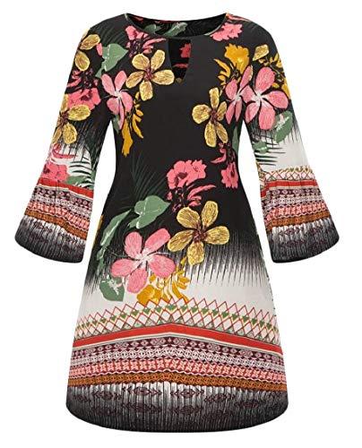 Jaycargogo Womens Imprimé Floral O Mode Cou Style Indien Une Robe De La Ligne 5