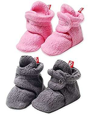 Booties Fleece Unisex Baby Booties For Boys or Girls Slippers Gray 2 Pack