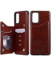 Ostop Wallet Case for Samsung Galaxy S20 Plus,Premium PU Embossed Flower Leather Stand Card Slots Pocket Case,Double Magnetic Clasp and Durable Shockproof Flip Cover,Brown