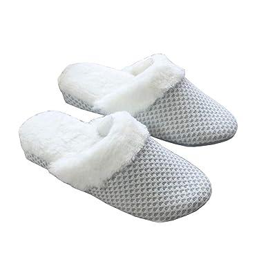 Gysad Zapatillas casa Diseño simple Zapatillas casa mujer cuña Cálido y confortable Zapatillas casa mujer invierno Uso interior Pantuflas mujer invierno: ...
