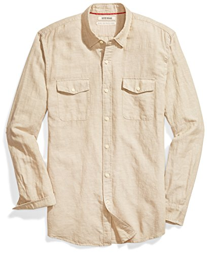 Goodthreads Men's Standard-Fit Long-Sleeve Linen and Cotton Blend Shirt, Khaki, Medium]()