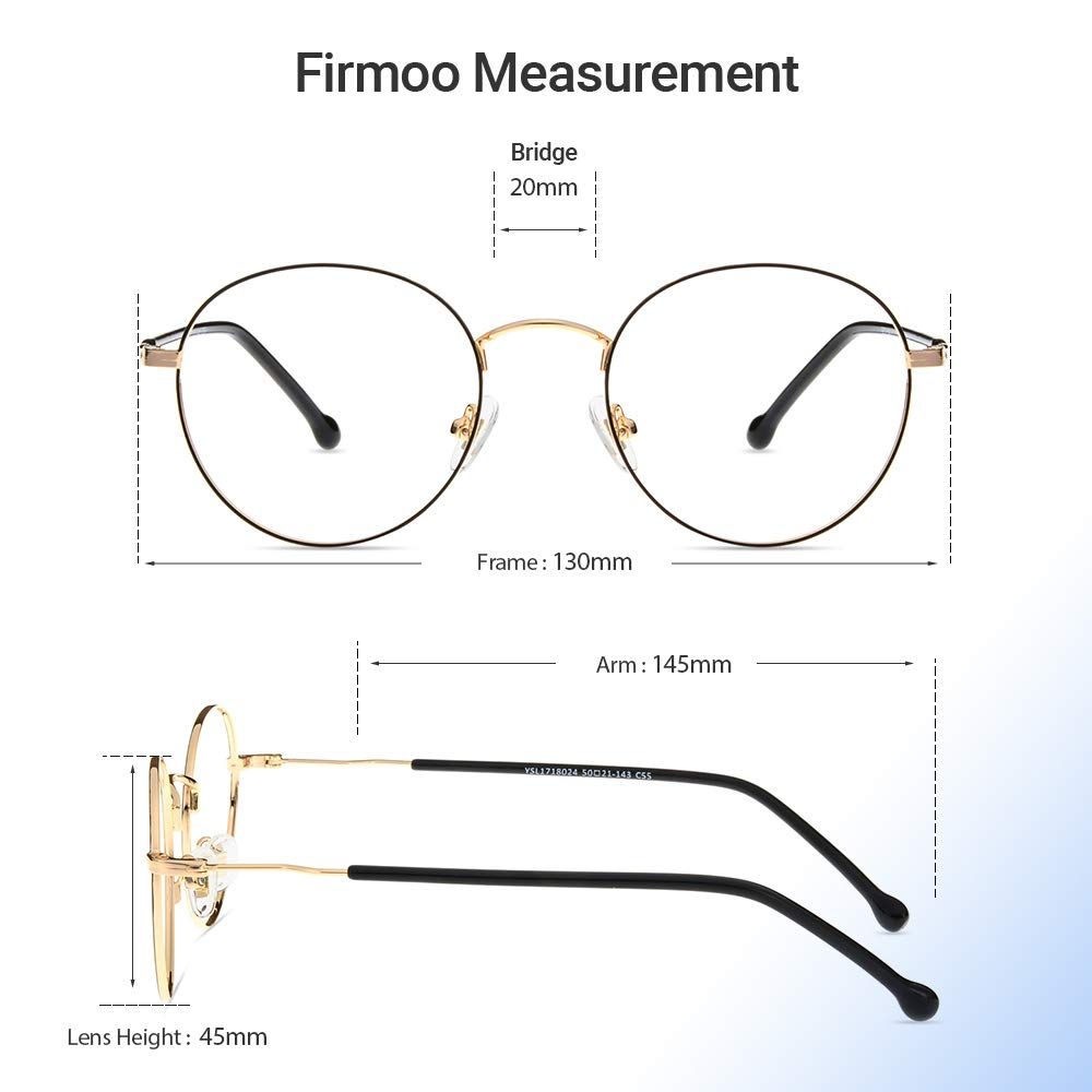 Retro Round Metal Computer Glasses for Women and Men Silver Anti Eyestrain//Glare//Fatigue Firmoo Blue Light Blocking Glasses