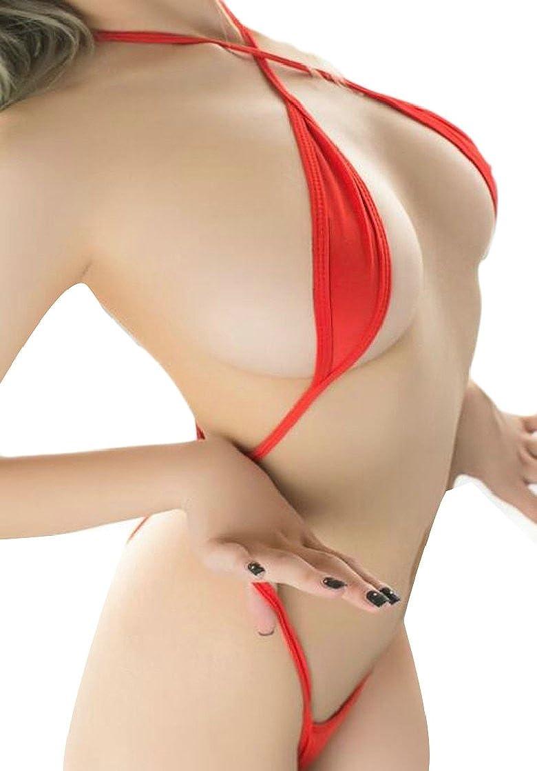 GAGA Women Slim Fit Solid Color Erotic Three-Point Bodysuit Lingerie One Piece Set