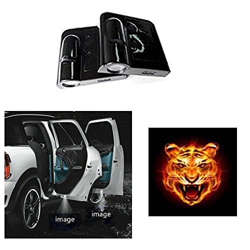 Soondar 2 pcs Universal Wireless Car Projection LED Projector Door Shadow Light Welcome Light Laser Emblem Logo Lamps Kit, No Drilling (Tiger)