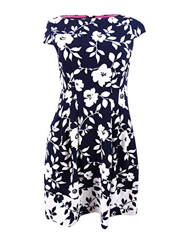 Jessica Howard Women's Petite Floral Pleated Flare Dress (6P, Navy/Ivory)