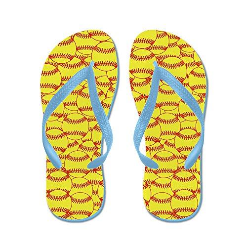 Cafepress Softball Gul - Flip Flops, Roliga Rem Sandaler, Strand Sandaler Caribbean Blue