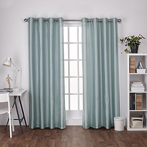 Exclusive Home Curtains Chatra Faux Silk Grommet Top Window Curtain Panel Pair, Robin Blue, 54x96 (Silk Panel)