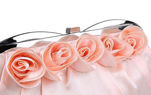 Roses Fleurs de Rose Soirée Cérémonie Pochette Sac Satin de Décorées Mariage Champagne à Pour Main Face EtdZqt