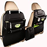 Ideashop Car Backseat Organizer PU Leather Auto Back Car Seat Organizer Holder Pocket Storage Kick Mats (1 PACK BLACK)