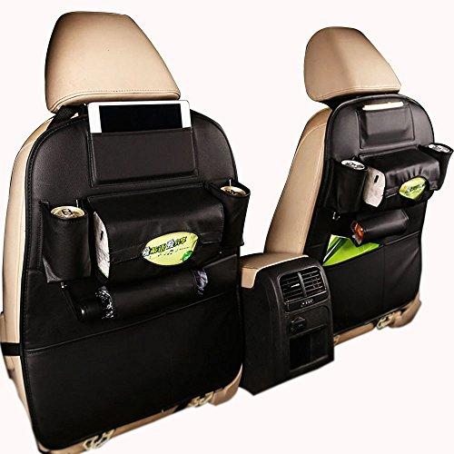 Ideashop Car Backseat Organizer PU Leather Auto Back Car Seat Organizer Holder Pocket Storage Kick Mats (1 PACK BLACK) (Storage Behind Seat)