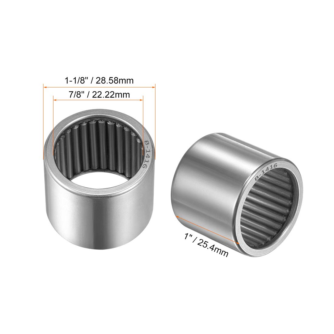 Open 7//8-inch I.D uxcell B1416 Needle Roller Bearings Full Complement Drawn Cup 1-1//8-inch OD 1-inch Width 14400N Static Load 7040N Dynamic Load 4800Rpm Limiting Speed 2pcs