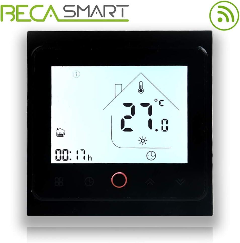 BECA 002 Serie 3 / 16A Pantalla táctil LCD Agua/Calefacción eléctrica/Caldera Termostato de control de programación inteligente con conexión WIFI (Calentador de Calderas, Negro completo)