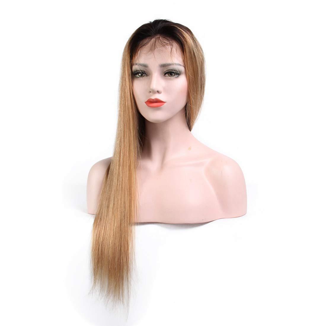 WAVENI Peluca Recta de la Peluca del Frente del Pelo del Pelo Recto de la Peluca del Pelo Recto de 100% del Pelo Verdadero de la Peluca (Size : 16 Inch)