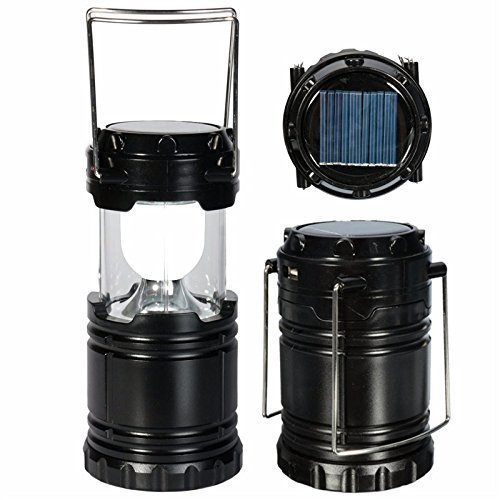 XHAIDEN® New 3 Way Power Source Solar Camping LED Lanterns Light with Power Bank (3 Power Source- Solar, Battery, Lithium Battery) Best for Camping, Hiking, Fishing, Emergency Outages (Black)