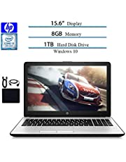"HP 15.6"" HD 2019 Laptop Computer Notebook, Intel i3-7100U 2.40GHz, 8GB RAM, 1TB HDD, WiFi, Bluetooth, Windows 10 w/ Hesvap Accessories"