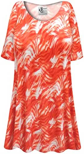 Orange Wavy Abstract Slinky Plus Size Supersize Extra Long A-Line Top