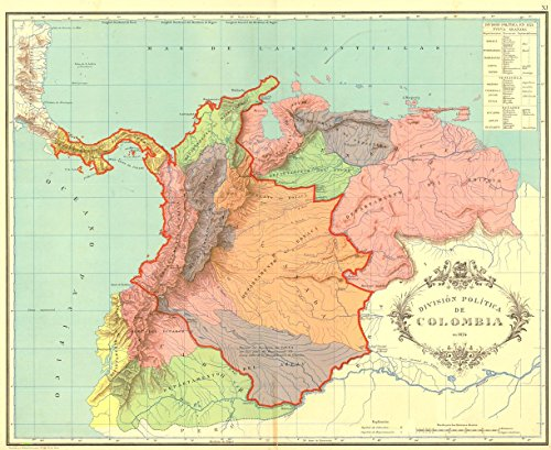 Gifts Delight Laminated 29x24 Poster: Gran Colombia map (La Gran Colombia)