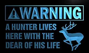 ADV PRO m921-b Warning Hunter lives with Deer Neon Sign