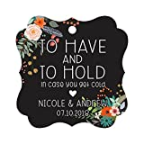 Darling Souvenir Custom Bonbonniere Gift Tags To Have and To Hold In Case You Get Cold Wedding Party Favor Hang Tags-Floral Black-100 Tags