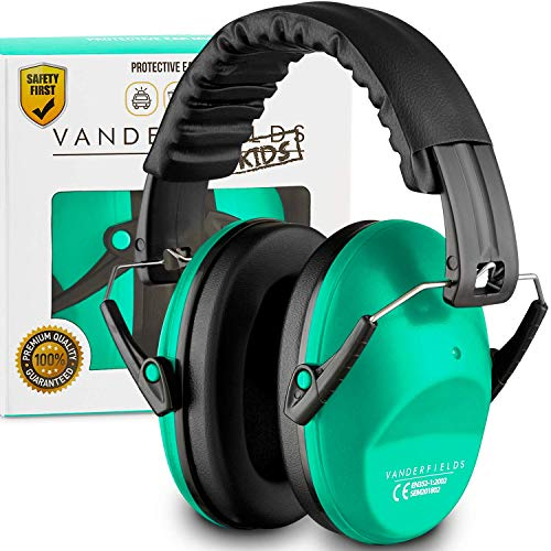 Earmuffs for Kids Toddlers Children - Hearing Protection Ear Defenders for Small Adults Women - Foldable Design Ear Defenders Adjustable Padded Headband Noise Reduction (Turquoise Touch)