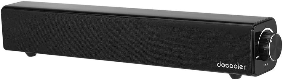 Docooler Altavoz Bluetooth 4.0 Barra de Sonido 20W 10W Dual Drivers Deep Bass AUX-IN de Reproducción de Música 4400mAh Incorporado Negro Batería para TV PC Tablets Teléfonos Inteligentes