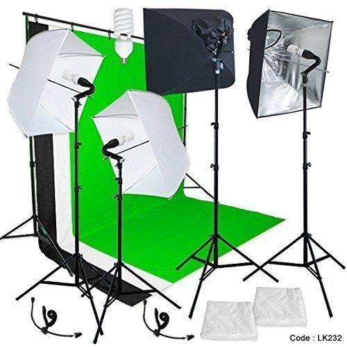 Head Studio Kit (Linco Studio Lighting Light Video Photo Softbox Photography Kit Backdrop)